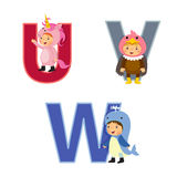English alphabet with kids in animal costume, U to W letters Royalty Free Stock Photography