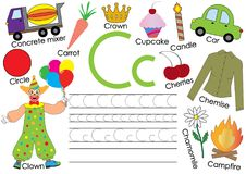 English alphabet. Letter C. Card with pictures and writing practice for preschool children.  stock illustration