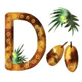 English alphabet letter d vector illustration