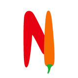 """English alphabet letter """"N"""" form of red chili pepper, upperc Royalty Free Stock Images"""