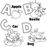 English alphabet and the letters A, B, C and D Royalty Free Stock Photography