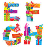 English alphabet - letters are made of gift boxes  Royalty Free Stock Photo
