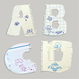 English alphabet - letters are made of old paper. Letters A, B, C, D Stock Image