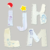English alphabet - letters are made of old paper - Stock Image