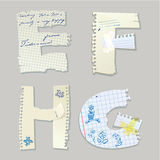 English alphabet - letters are made of old paper - letters E, F,. H, G Stock Photo