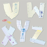 English alphabet - letters are made of old paper - letters V, W, Stock Image