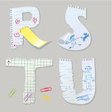 English alphabet - letters are made of old paper -. Letters R, S, T, U  abc Stock Image