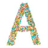 English alphabet letters, numerals and symbols made of little ca