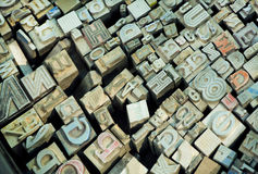 English alphabet letters and other signs in sets with keystrokes of classical typography. English alphabet letters and other metal signs in sets with most common Royalty Free Stock Image