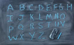 English alphabet letters written on chalk board with eraser Royalty Free Stock Photo