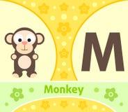 The English alphabet M. The English alphabet with Monkey Royalty Free Stock Image