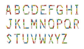 English alphabet made from colorful wooden clothespin Stock Photo