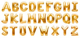 English alphabet made of golden inflatable helium balloons isolated on white. Gold foil balloon font, full alphabet set of upper