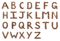 English Alphabet Made Of Coffee Beans Stock Photography