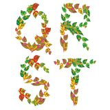 English alphabet made ??up of branches and leaves. Stock Image