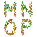 English alphabet made ??up of branches and leaves. Vector illustration Royalty Free Stock Photo