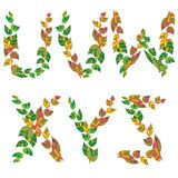 English alphabet made ??up of branches and leaves. Stock Photos