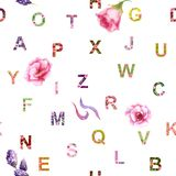 English alphabet made from watercolor flowers, seamless pattern stock illustration