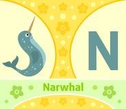 The English alphabet N. The English alphabet with Narwhal stock illustration