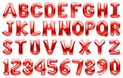 English alphabet and numbers made of red inflatable helium balloons isolated on white. Red foil balloon font, full alphabet set of