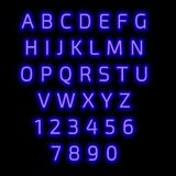 English alphabet and numbers. Neon style. stock photo