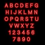 English alphabet and numbers. Neon style. royalty free stock images