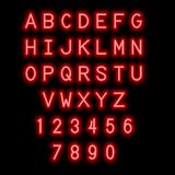 English alphabet and numbers. Neon style. stock photography