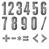 English alphabet, numbers and signs. Isolated, grungy Royalty Free Stock Image
