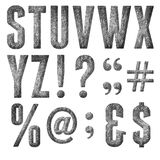 English alphabet, numbers and signs. Isolated, grungy Royalty Free Stock Images