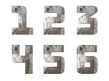 English alphabet, numbers and signs isolated, grungy Stock Photo