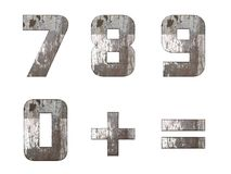English alphabet, numbers and signs isolated, grungy Royalty Free Stock Photography