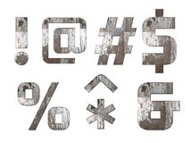 English alphabet, numbers and signs isolated, grungy Stock Image