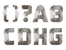 English alphabet, numbers and signs isolated, grungy Stock Photography