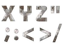 English alphabet, numbers and signs isolated, grungy Stock Photos