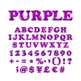 English alphabet and numerals from purple, violet balloons on a white background. holidays and education. Art Stock Photography