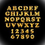 English alphabet and numerals from yellow Golden balloons on a black background. Holidays and education art Stock Photography
