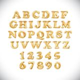 English alphabet and numerals from yellow Golden balloons on a white background. holidays and education. Vector Metallic Gold Balloons English alphabet and Stock Photos