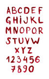 English alphabet painted with red paint Stock Image