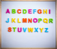 English alphabet from plastic letters Royalty Free Stock Photo