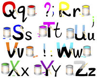 English alphabet Q-Z. Not fully painted letters with paint dripping, brushes and paint cans. Vector illustration Stock Photography