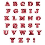 English alphabet red. Color isolated on white background Royalty Free Stock Photos