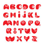 English alphabet - red funny spiral cartoon letter. ABC - english alphabet - red funny spiral cartoon letters Stock Photos