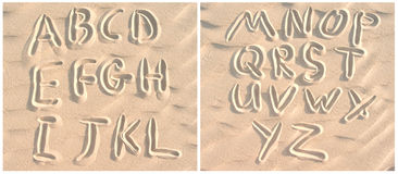 English alphabet on sand Stock Image
