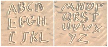 English alphabet on sand Stock Image