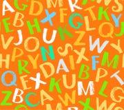 English alphabet seamless background, color, orange. Stock Photos