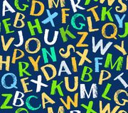 English alphabet seamless pattern, color, blue. Royalty Free Stock Images