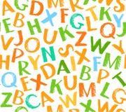 English alphabet seamless pattern, color, white. Royalty Free Stock Photo
