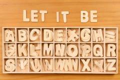 English alphabet set in wooden box Royalty Free Stock Photos