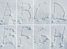 English alphabet in the snow - font set Royalty Free Stock Photos