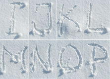 English alphabet in the snow - font set Stock Photo